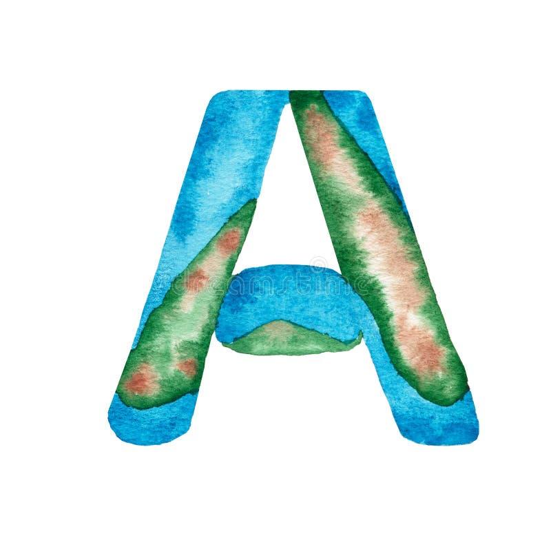 Letra pintado à mão A do alfabeto da aquarela que imita a terra e o oceano azul Elemento da rotula??o ilustração stock