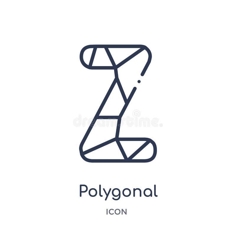 Letra poligonal linear z del pequeño icono de los triángulos de la colección del esquema de la geometría Línea fina letra poligon libre illustration
