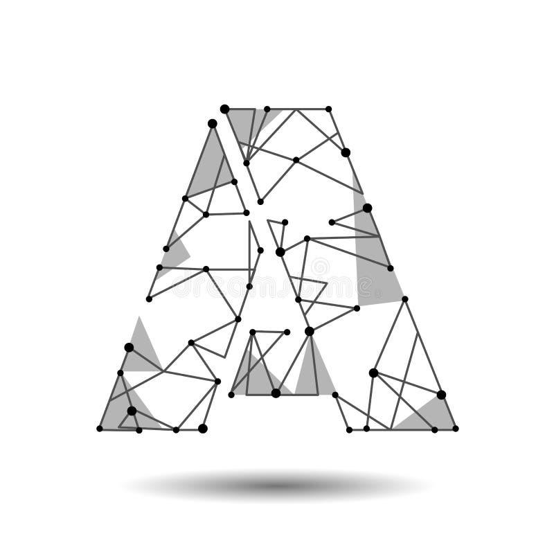Letra polivinílica baja un cirílico latino inglés El triángulo poligonal conecta la línea del punto del punto Fuente negra del mo stock de ilustración