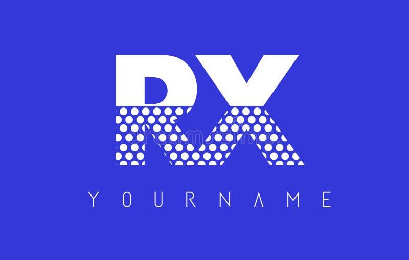Letra pontilhada X Logo Design de RX R com fundo azul ilustração do vetor