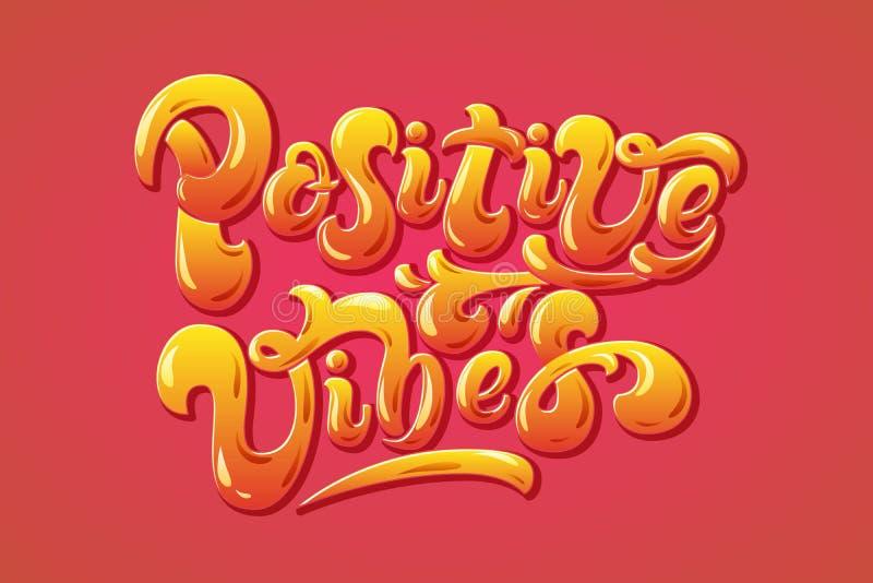 Letra positiva Vibes desenhada à mão Frase motivacional colorida Citação criativa feliz e alegre em fundo vermelho ilustração stock