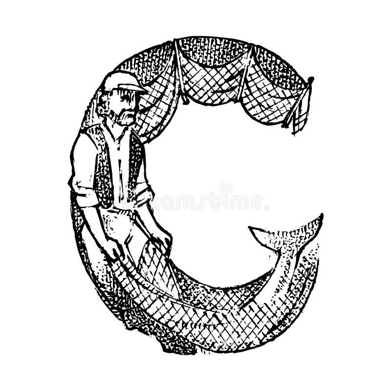 Letra principal antiga antiga C com um ornamento Cultura grega Exposi??o dobro Esboço gravado tirado mão no vintage ilustração stock