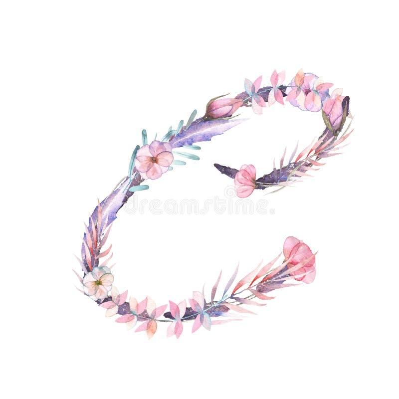 Letra principal C de flores cor-de-rosa e roxas da aquarela ilustração stock