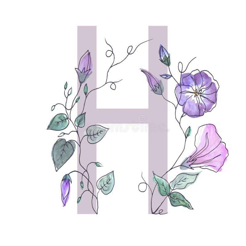 A letra principal do alfabeto é decorada com flo encaracolado ilustração royalty free