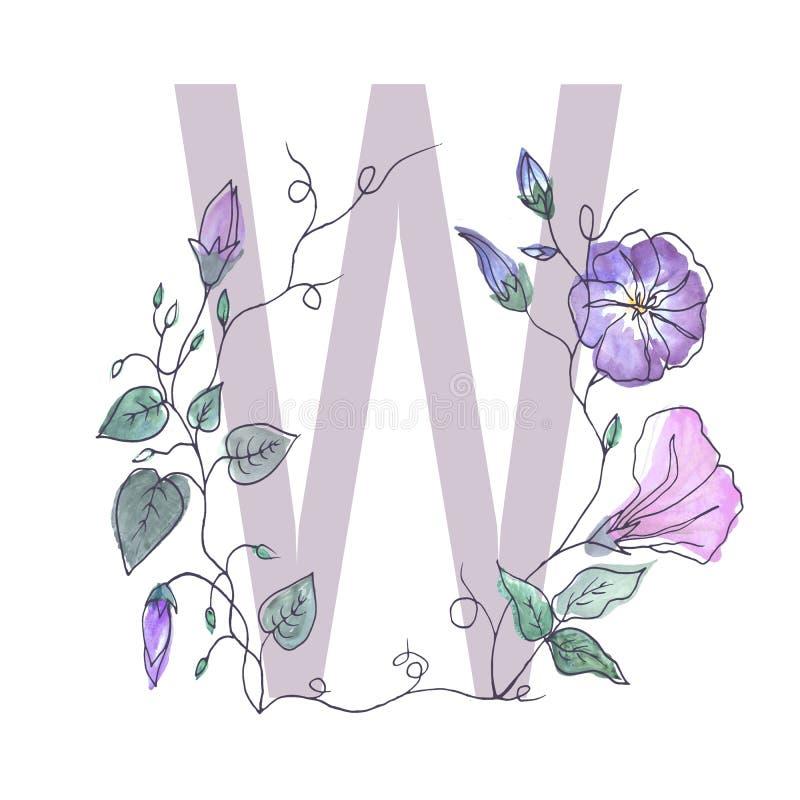 A letra principal do alfabeto é decorada com flo encaracolado ilustração stock