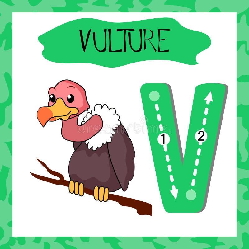 Letra principal V do alfabeto inglês com os animais engraçados para crianças ilustração stock