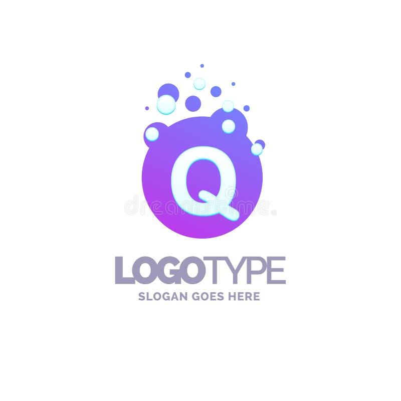 A letra Q borbulha Logo Purple Template ilustração stock