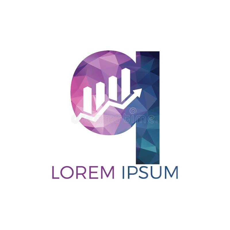 Letra Q com projeto do logotipo do negócio do nome da inicial da seta Conceito criativo do s?mbolo do crescimento ilustração stock