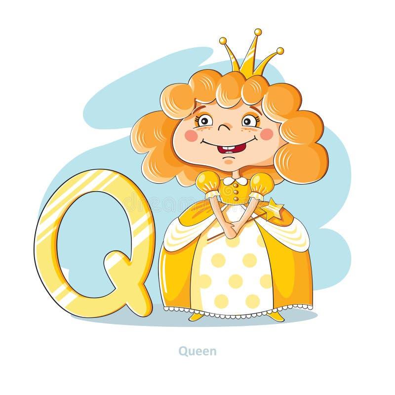 Letra Q con la reina divertida ilustración del vector