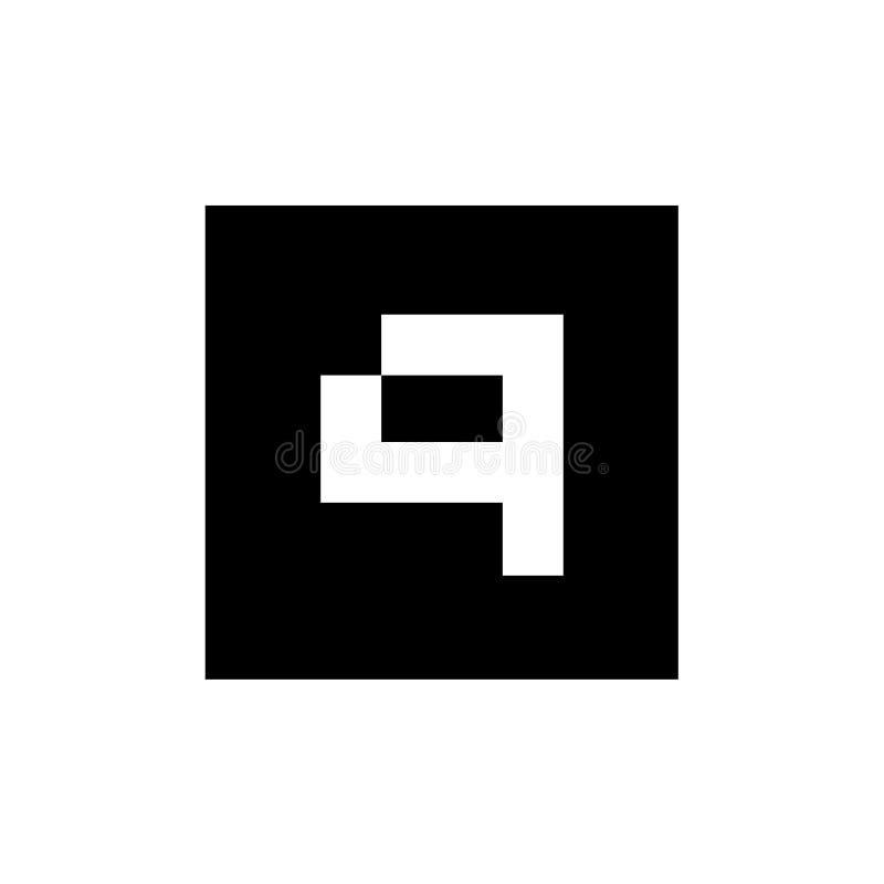 Letra Q Logo Design, concepto de Digitaces del icono de Q combinado con la forma cuadrada, ejemplo del vector libre illustration