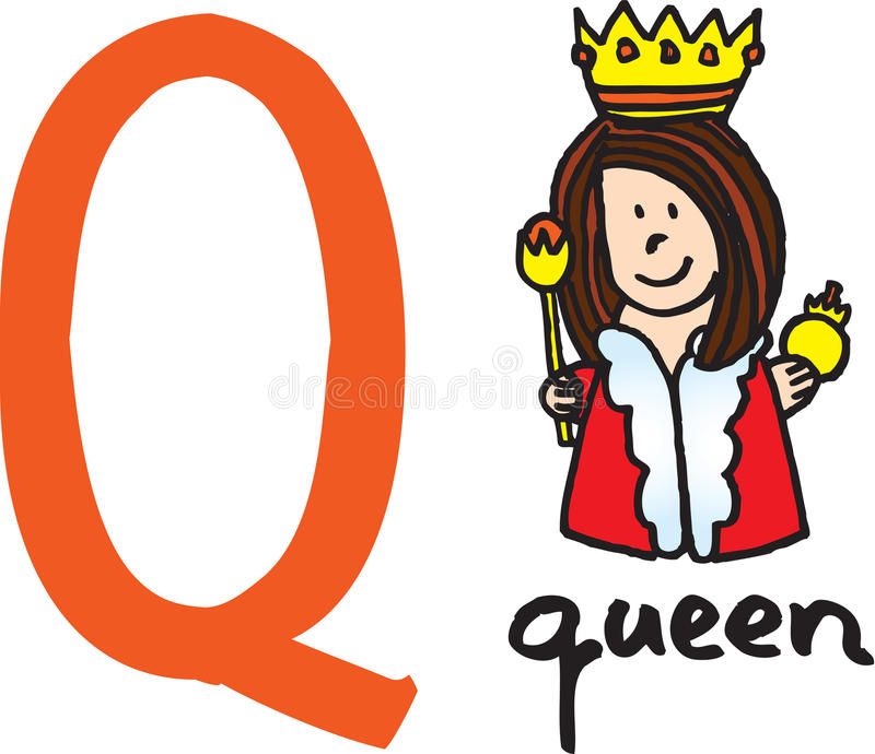 Letra Q - reina stock de ilustración
