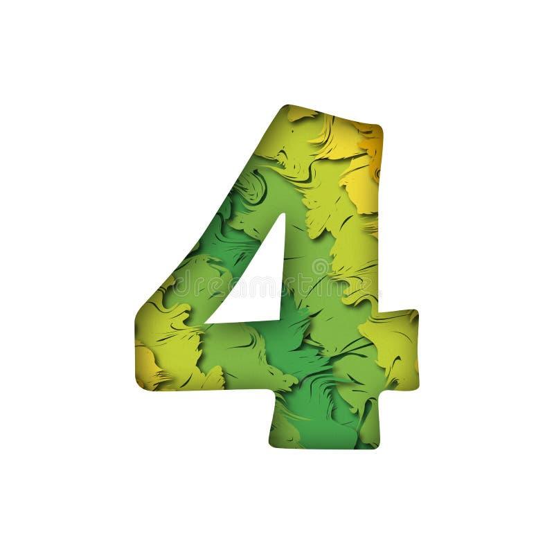 Letra quatro verde na moda do número 4 do papercut foto de stock royalty free