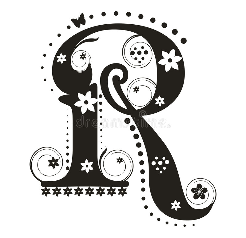 Letra R stock de ilustración