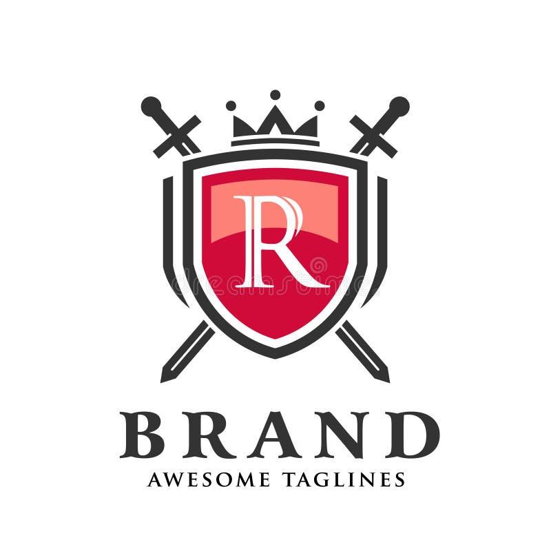 Letra R con dos espadas cruzadas, escudo con el logotipo de la corona stock de ilustración