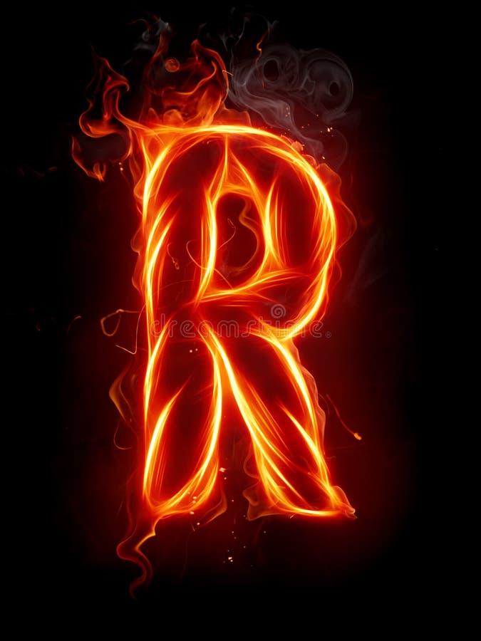 Letra R del fuego ilustración del vector