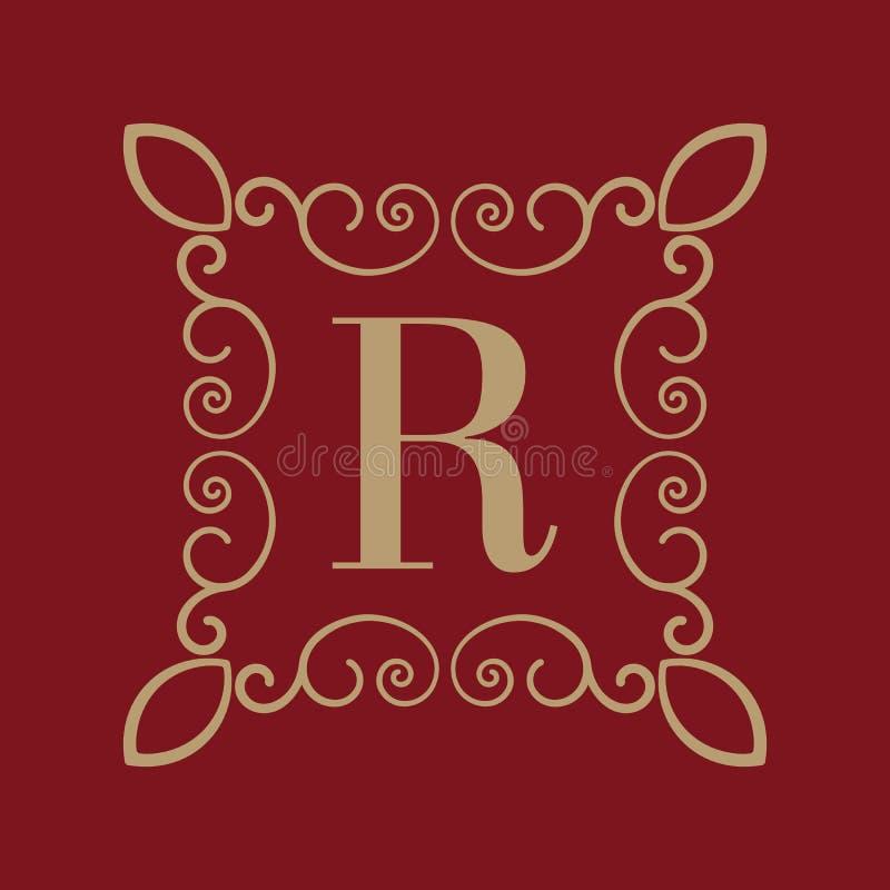 Letra R del monograma Ornamento caligráfico oro Conceptos retros, del negocio y del vintage Ilustración del vector stock de ilustración
