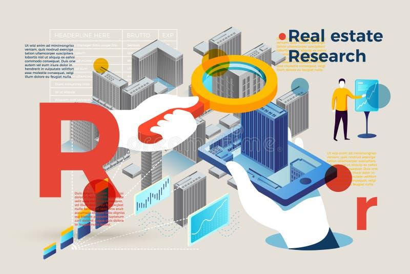 Letra R del vector con la gente de la investigación de las propiedades inmobiliarias stock de ilustración