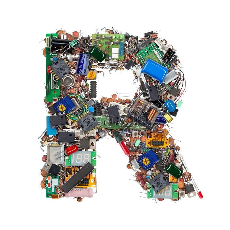 Letra R hecha de componentes electrónicos imagen de archivo libre de regalías