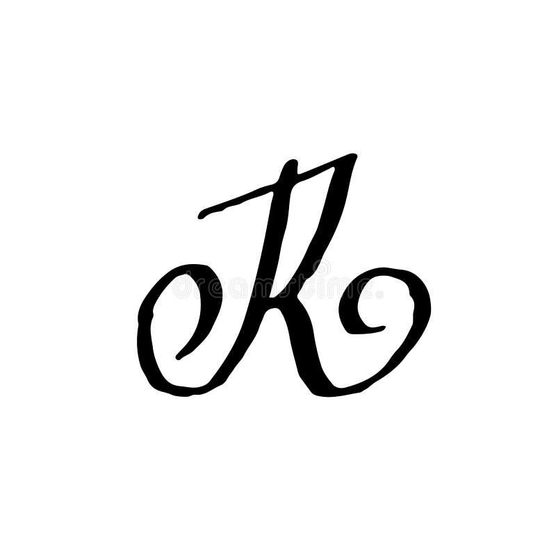 Letra R Manuscrito por el cepillo seco Los movimientos ásperos texturizaron la fuente Ilustración del vector Alfabeto del estilo  ilustración del vector