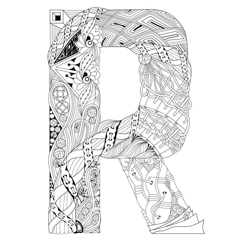 Letra R Para Colorear Objeto Decorativo Del Zentangle Del Vector ...