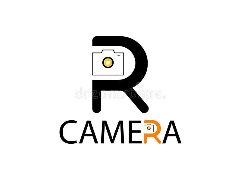 Letra R para el elemento de marcado en caliente de la letra del logotipo del diseño de la cámara stock de ilustración