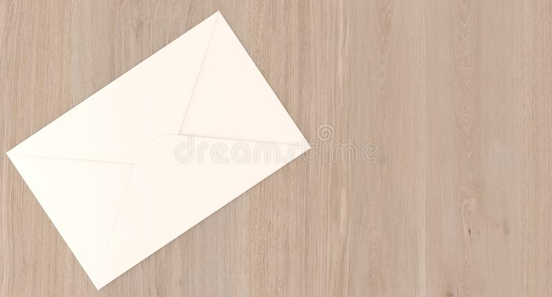 Letra realística do correio na superfície de madeira ilustração stock