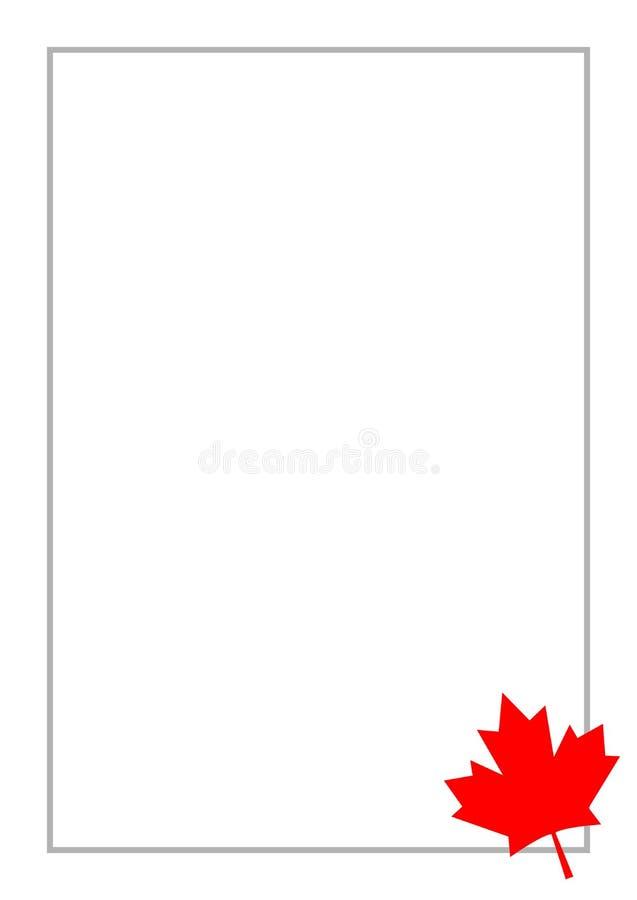 Letra roja a4 de la tarjeta del marco de la hoja de arce de la bandera canadiense ilustración del vector