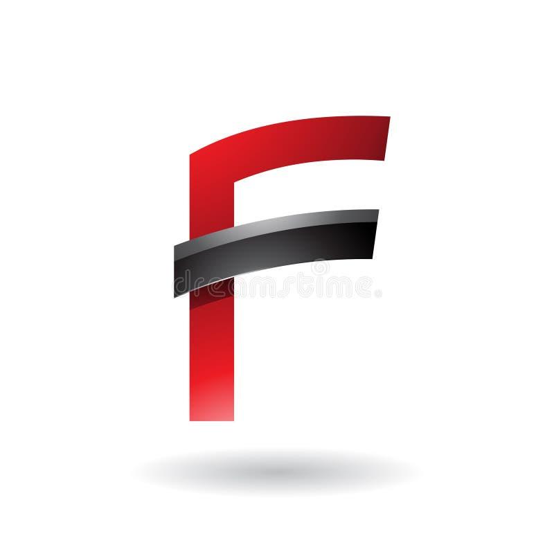 Letra roja F con el palillo brillante negro aislado en un fondo blanco libre illustration