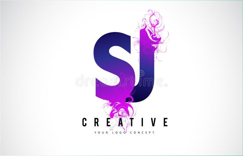 Letra roxa Logo Design de SJ S J com fluxo líquido do efeito ilustração royalty free