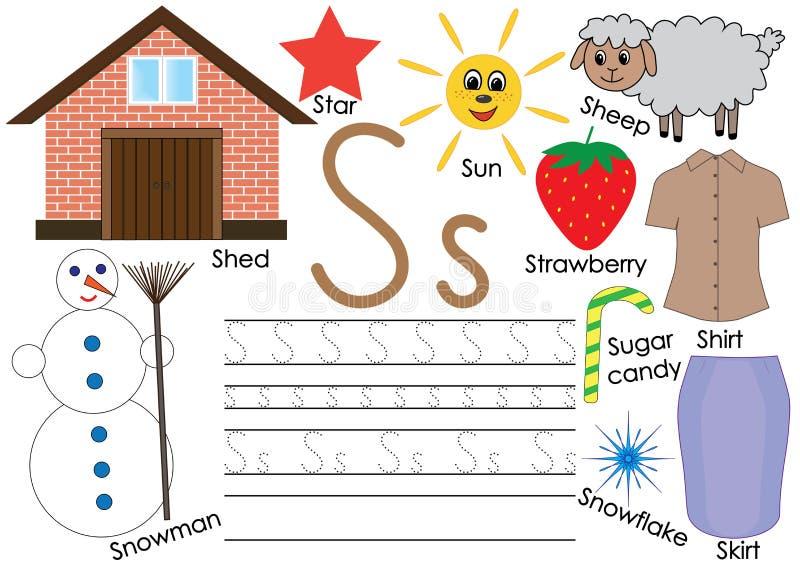 Letra S Alfabeto inglês Prática da escrita para crianças Jogo de Kid's Ilustração do vetor ilustração do vetor