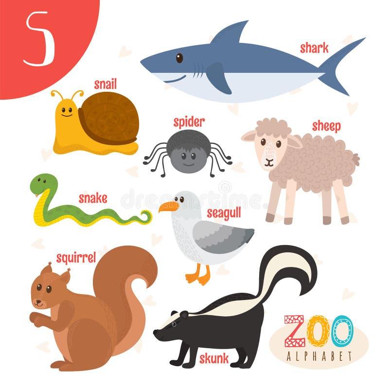 Letra S Animais bonitos Animais engraçados dos desenhos animados no vetor ABC vaia ilustração stock