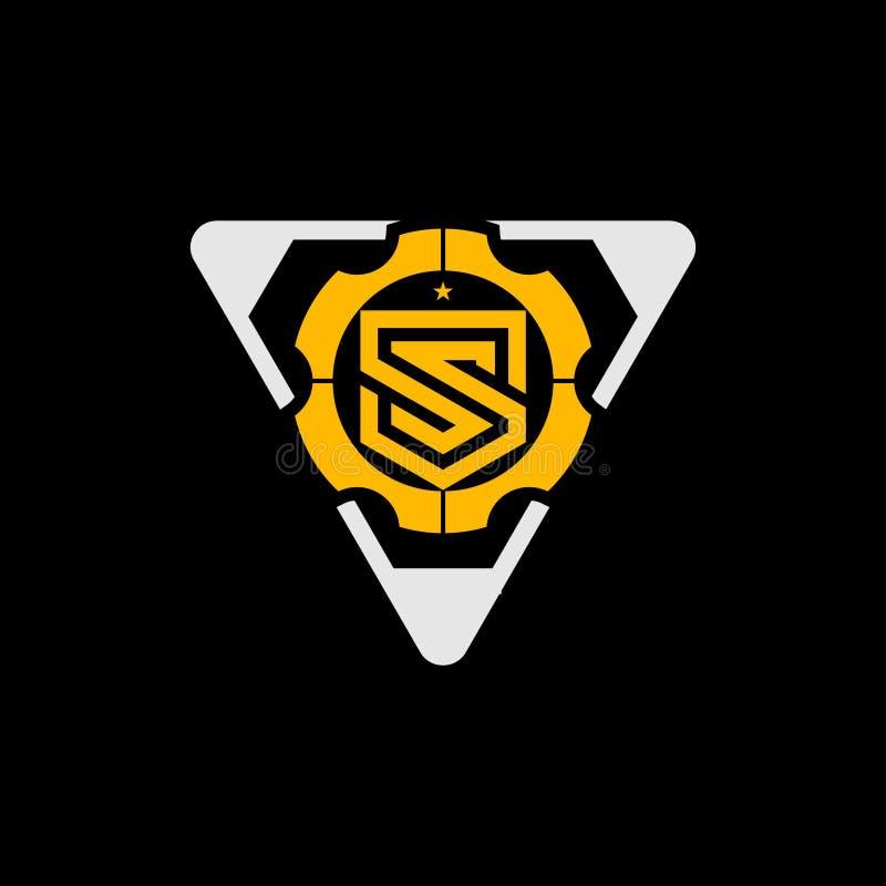 Letra S com vetor moderno e simples da forma da engrenagem e do triângulo do logotipo ilustração do vetor