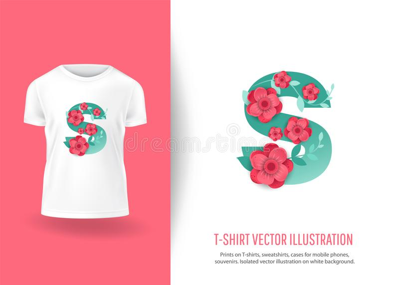 Letra S del color con las flores hermosas libre illustration