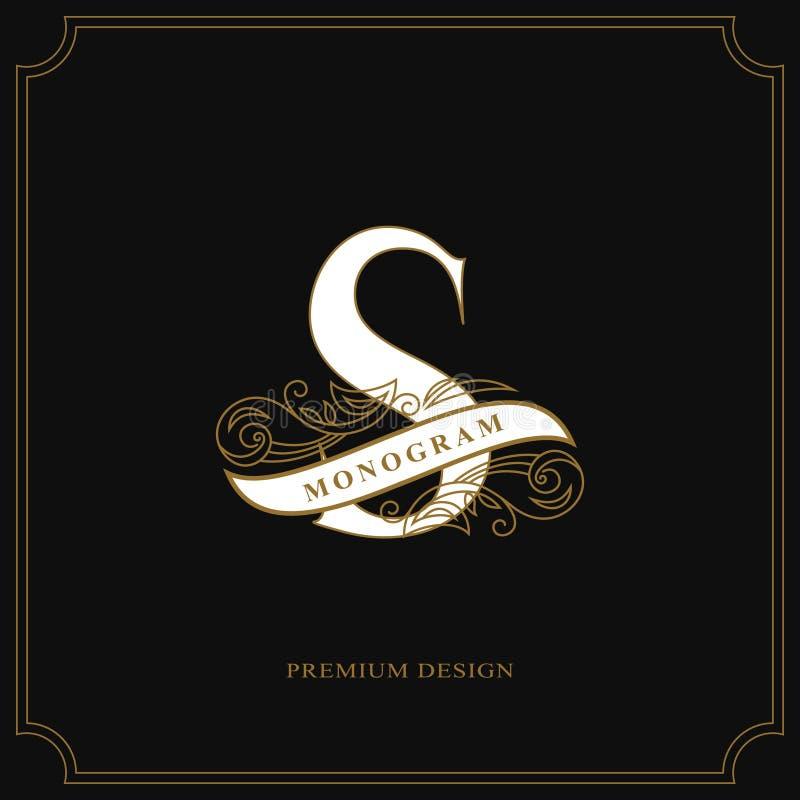 Letra S elegante Logotipo bonito caligráfico com a fita para etiquetas Estilo gracioso Emblema tirado vintage para o projeto do l ilustração royalty free