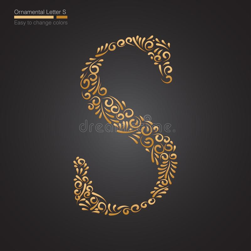Letra S floral dourada decorativa ilustração stock