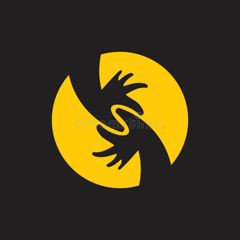A letra s ligou o vetor da decoração do logotipo do símbolo da mão ilustração do vetor