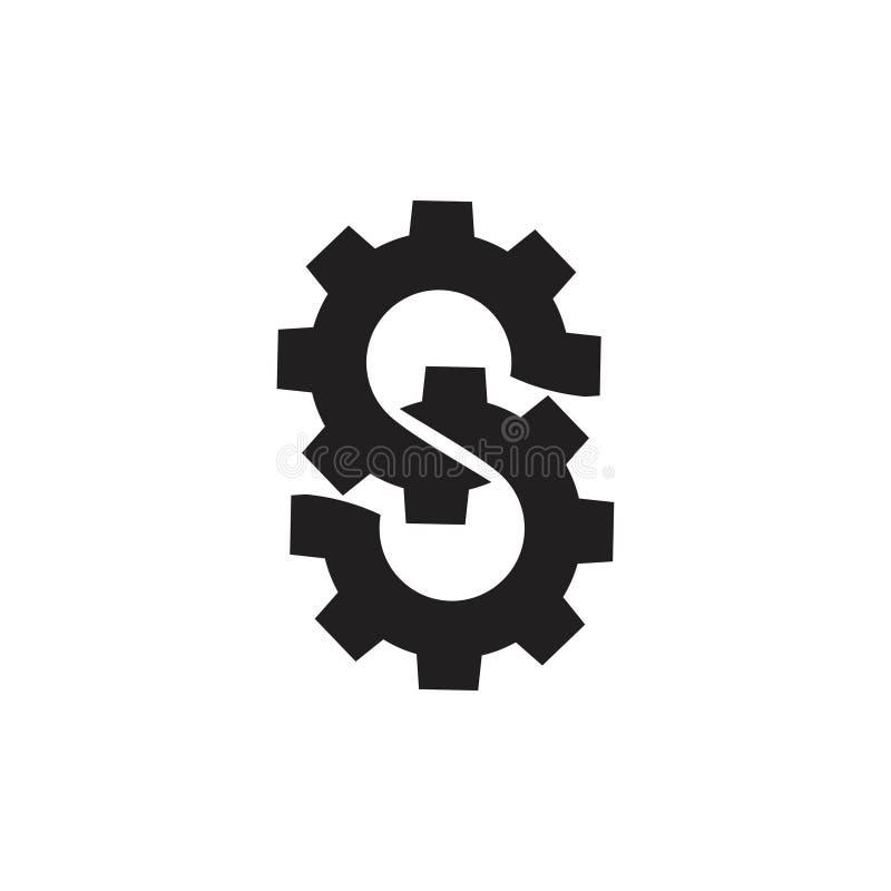 A letra s ligou o vetor industrial do logotipo da m?quina da roda denteada imagens de stock