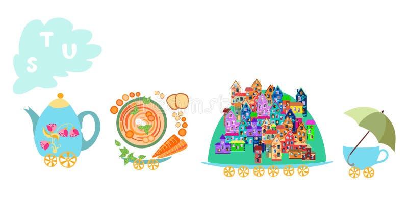 Letra S, T, U Alfabeto inglés de la historieta linda con imagen colorida Tetera y tren de las tazas ilustración del vector