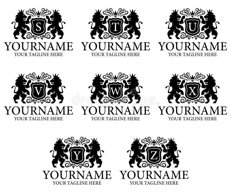 Letra S, T, U, V, W, X, Y, Z y cresta, león con la corona y escudo, diseño de la heráldica del logotipo Animal, naturaleza, plant stock de ilustración