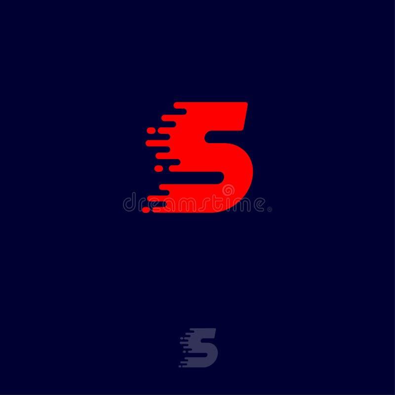 Letra S vermelha com o movimento, isolado em um fundo escuro Logotipo din?mico ilustração stock