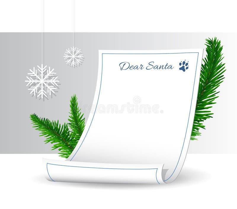 Letra a Santa Claus con las ramas y los copos de nieve spruce enormes Símbolo de la Navidad y del Año Nuevo Vector libre illustration