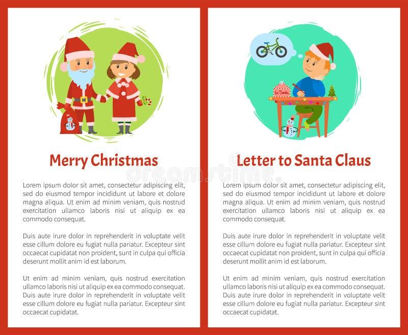 Letra Santa Claus Written de la Feliz Navidad del muchacho libre illustration