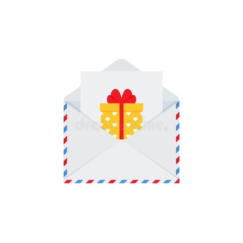 Letra a Santa no envelope ?cone do Natal Ilustra??o do vetor no projeto liso ilustração do vetor