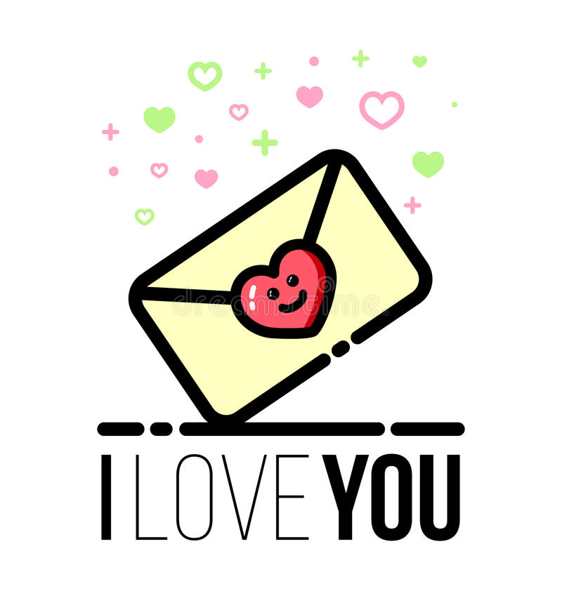 Letra sellada con el icono en forma de corazón Tarjeta de felicitación del diseño de Valentine Day del santo Línea estilo plana stock de ilustración