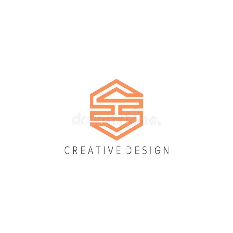 Letra SH con el logotipo del hexágono libre illustration