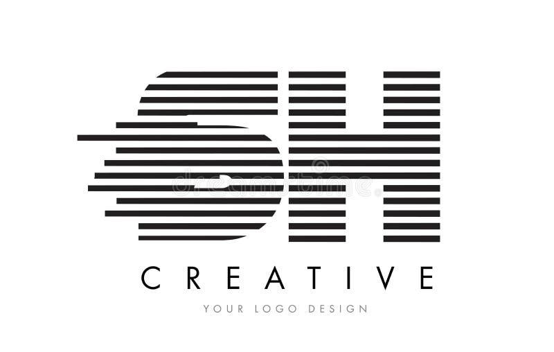 Letra SH Logo Design de la cebra de S H con las rayas blancos y negros ilustración del vector