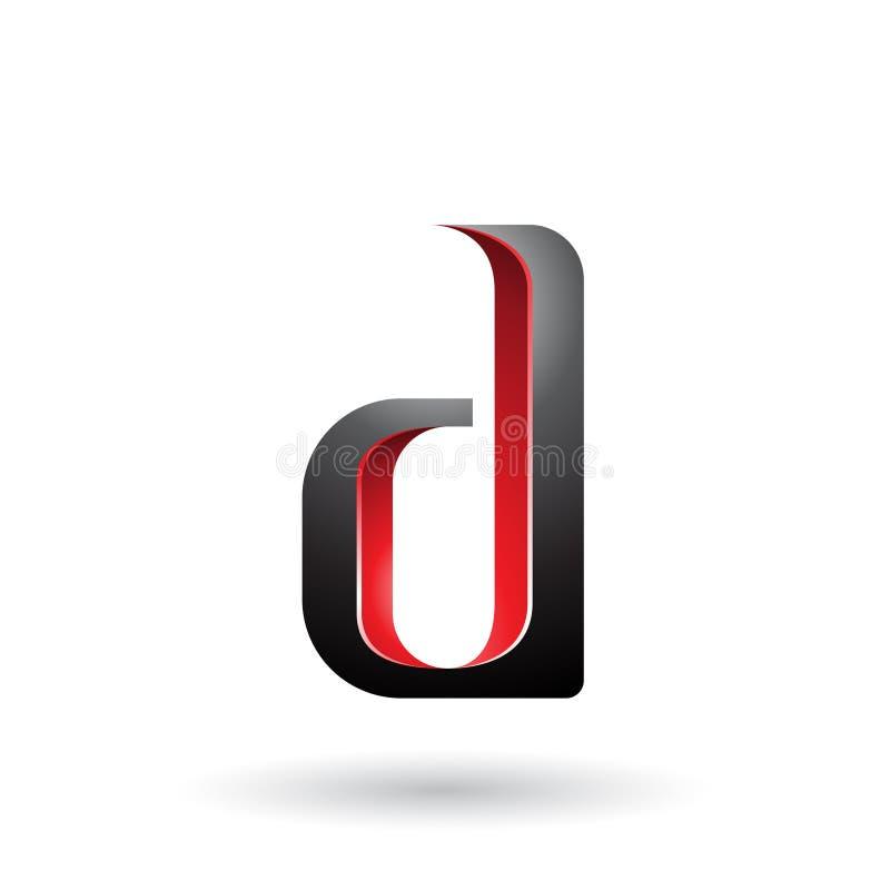 Letra sombreada roja y negra D aislada en un fondo blanco ilustración del vector