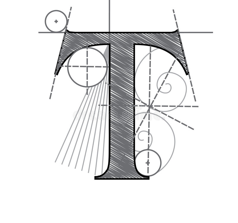 Letra T ilustração royalty free