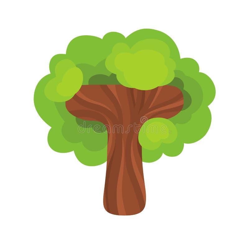 Letra T bajo la forma de árbol ilustración del vector