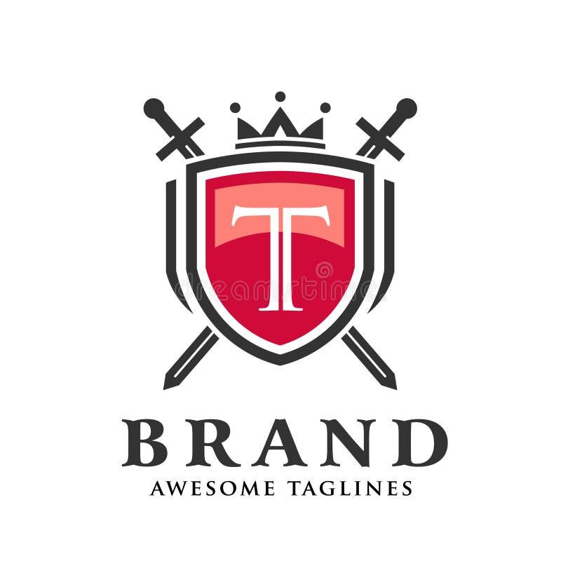 Letra T con dos espadas cruzadas, escudo con el logotipo de la corona stock de ilustración